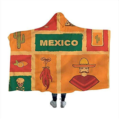 Mexicaanse Hooded Dekens Magische Cactus Tequila Citroen Peper 50