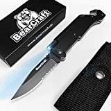BearCraft Cuchillo Plegable eBook Gratis ** | Navaja de Bolsillo para la Supervivencia al Aire Libre con Borde dentado | Cuchillo de Rescate con Linterna LED y pedernal