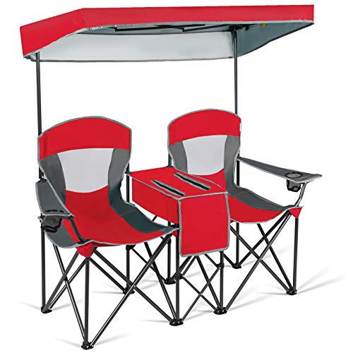 Safstar Double Camping Chair w/Shade Canopy, 2-Person Folding Camp and Beach Chair with Mini Table Beverage Cup Holder Carrying Bag for Garden Patio...