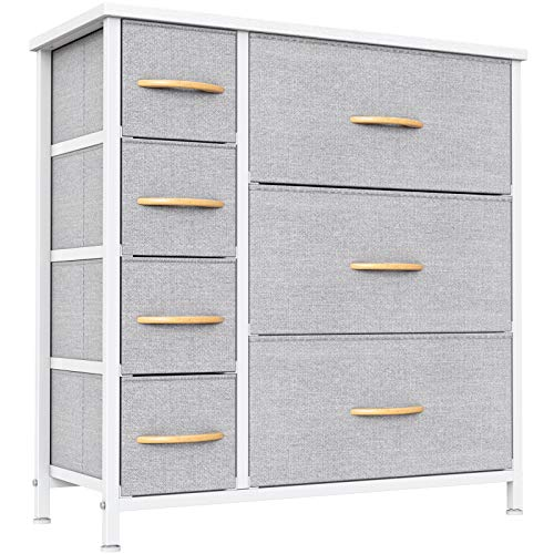 Cubiker Dresser Organizer with 7 Drawer, Furniture Storage Tower Unit for Bedroom Hallway Entryway Closets, Dresser Clothes Storage with Sturdy Steel Frame Wood Top, Light Grey
