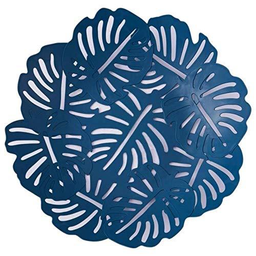 Heng Europese stijl Eenvoudige fruitschaal Bladvorm Decoratieve fruitschaal Moderne snackschaal Huishoudelijke plastic snacksnoepplaat, diepblauw