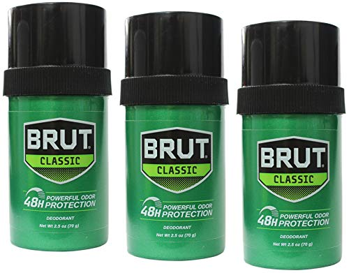 Brut Deodorant 2.25 Ounce Round Solid Classic (66ml) (3 Pack)