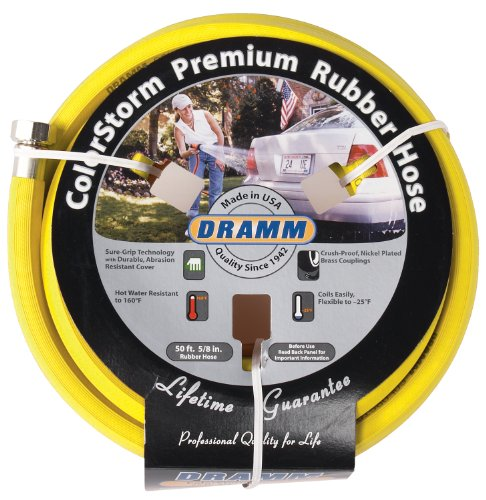 Dramm 17003 Rubber Garden Hose, 5/8'x50', Yellow