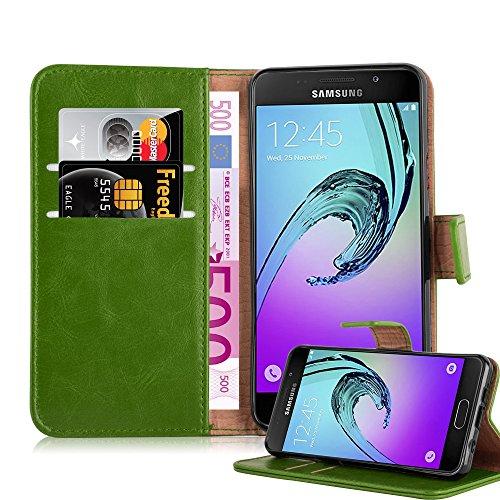 Cadorabo Hülle für Samsung Galaxy A3 2016 (6) - Hülle in Gras GRÜN – Handyhülle im Luxury Design mit Kartenfach und Standfunktion - Case Cover Schutzhülle Etui Tasche Book