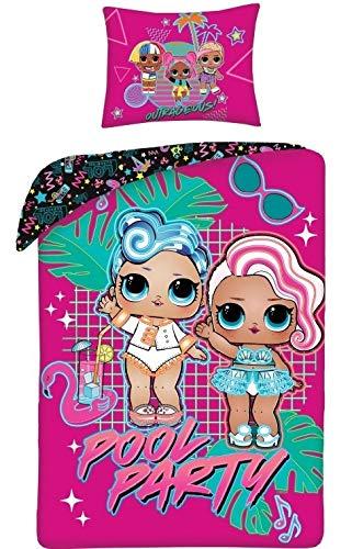 Halantex LOL Bettwäsche Pool Party Bettbezug 140x200 cm + Kissenbezug Kinderbettwäsche, L.O.L. Surprise ! Puppen, 100% Baumwolle
