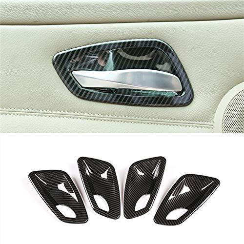 jap768 Car Styling Fibra de Carbono Elevalunas Marco Interruptor de botón del reposabrazos Pegatina Cubierta de Ajuste en Forma for el BMW Serie 3 E90 Accesorios Interior (Color : Doorknob Carbon)