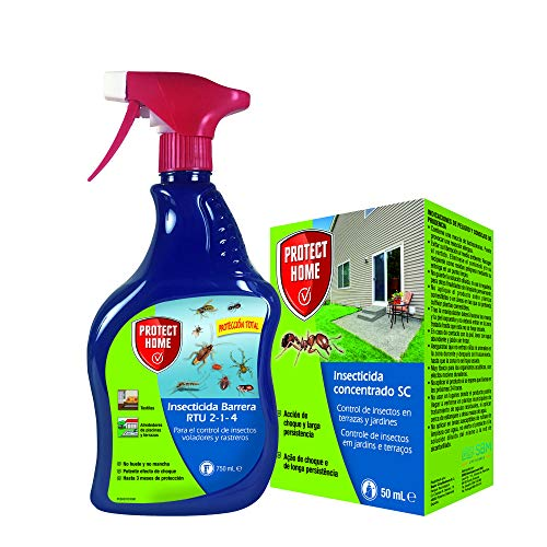 Protect Home - Kit insecticida protección total interior y exterior, rastreros y voladores, liquido concentrado + spray insecticida