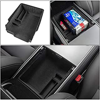 Carwiner 2021 Tesla Model 3 Armrest Organizer Center Console Tray Interior Accessories Flocked Storage Box with Coin and S...
