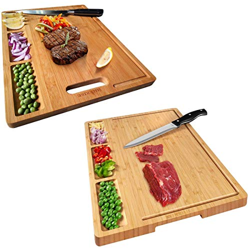 2pcs Large Organic Bamboo Cutting Board For Kitchen, With 3 Built-In Compartments And Juice Grooves, Heavy Duty Chopping Board For Meats Bread Fruits, Butcher Block, Carving Board, BPA Free