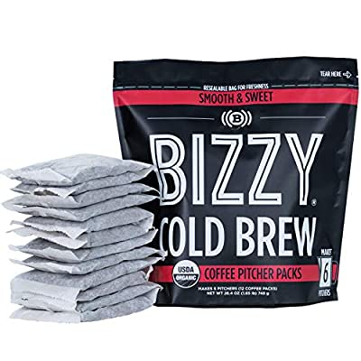 Bizzy Organic Cold Brew Coffee | Smooth & Sweet Blend | Coarse Ground Coffee | Pitcher Packs | 12 Count | Makes 42 Cups