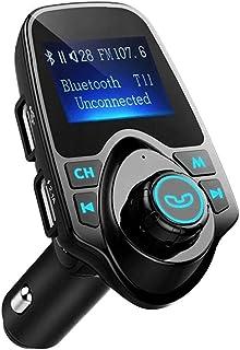Bluetooth Transmetteur FM, Bluetooth Adaptateur voiture avec lecteur de musique MP3 chargeur de téléphone Adaptateur Noir