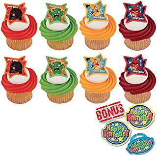 Angry Birds Why So Angry Cupcake Toppers and Bonus Birthday Ring - 25 piece