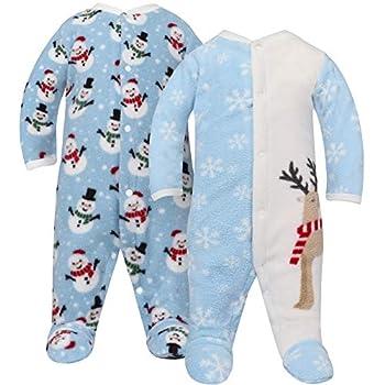 TILLYOU Footed Sleep and Play Pajamas for Baby Boy Girl 9-12 Months Christmas Eve