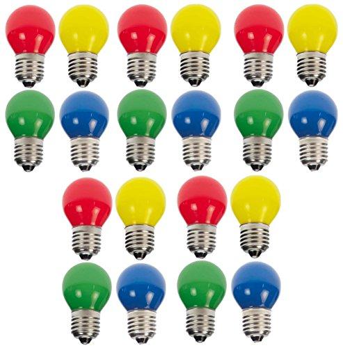 20xLED Tropfen/Kugel E27 1W bunt gemischt Deko Lampe Birne farbig für Deko Lichterketten 230 Volt