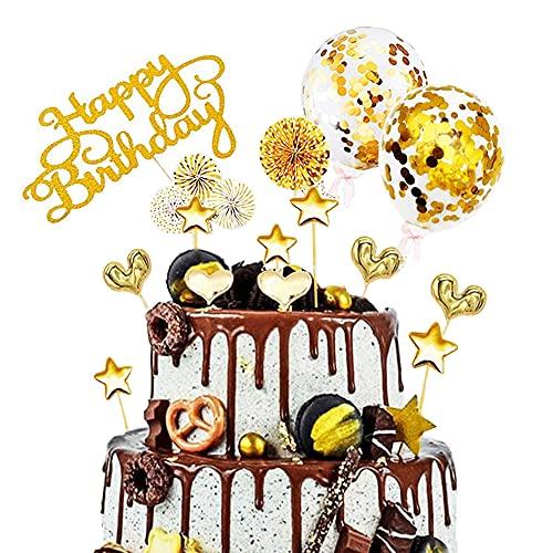 17 Stück Tortendeko Gold,Tortendeko Geburstagstorte,Happy Birthday Kuchendeko,Glitter Cake Topper Happy Birthday,Cupcake Topper mit Sternen Liebe Konfetti-Luftballons und Papierfächer (Gold)