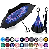 MRTLLOA Double Layer Inverted Umbrella with C-Shaped Handle, Anti-UV Waterproof Windproof Straight Umbrella for Car Rain Outdoor Use(Blue flowers)