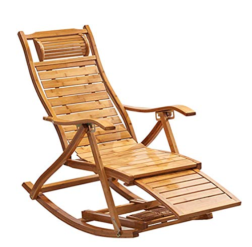 MUZILIZIYU Recliner Outdoor Chair Adjustable Bamboo Rocking Chair with Footrest And Armrest Summer Ventilation, Used in Gardens, Swimming Pools Lawns