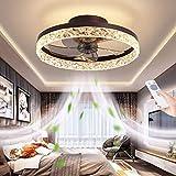 Ventilatore a soffitto con Luce, Illuminazione a LED Lampada Ventilatore, Telecomando dimmerabile, velocità del Vento silenziosa e Regolabile, lampadario della Ventola della Famiglia