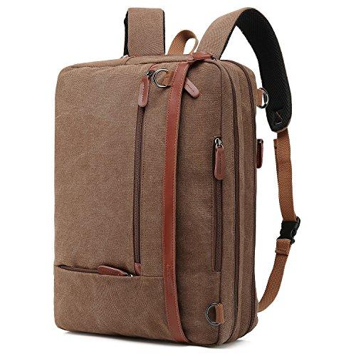 CoolBELL Convertible Backpack Shoulder Bag Messenger Bag Laptop Case Business Briefcase Leisure Handbag Multi-Functional Travel Rucksack Fits 17.3 Inch Laptop for Men/Women (Canvas Coffee)