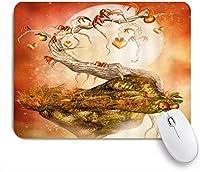 ZOMOY マウスパッド 個性的 おしゃれ 柔軟 かわいい ゴム製裏面 ゲーミングマウスパッド PC ノートパソコン オフィス用 デスクマット 滑り止め 耐久性が良い おもしろいパターン (心のおとぎ話の風景フルーツ満月秋の植物の木)