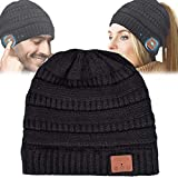 Gifts for Men/Women Bluetooth Beanie Bluetooth Hat with Wireless Headphones Music Winter Hat Christmas Sports Outdoor Gift(Black, Ponytail Beanie)