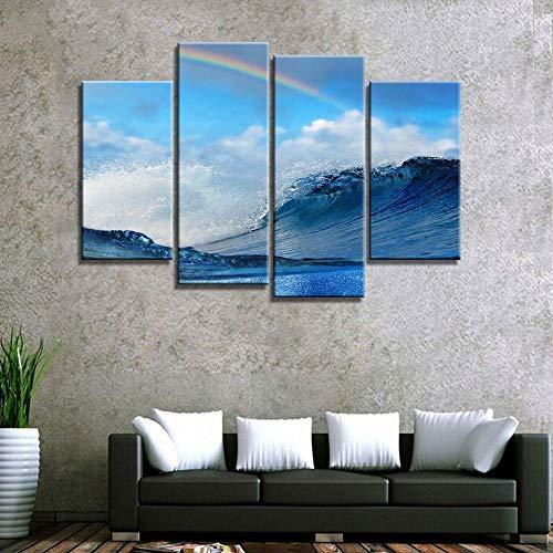 ANTAIBM® 4 Visuelle Fotos der Inneneinrichtung Holzrahmen - verschiedene Größen - verschiedene Stile4 Stück Leinwand Kunst HD Sea Wave Leinwand Gemälde Wandkunst Home Decoration für Zuhause Leinwand Ö