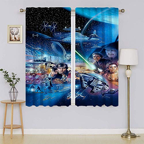 lacencn Star Wars Living Room Curtain,Thermal Insulated Grommet Energy Efficient Curtain for Living Room W55 x L63