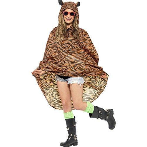 Amakando Disfraz de tigre para mujer, disfraz de poncho y gato, chubasquero, poncho de lluvia, diseo de gato depredador, chubasquero, disfraz de animales