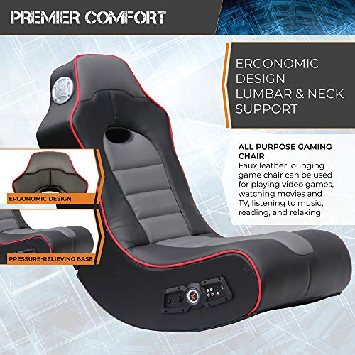 X Rocker, 5172601, Surge Wireless Bluetooth 2.1 Sound Video Gaming Floor Chair with Bonded Faux Leather and Mesh Upholstery, 36.81 x 32.28 x 20.89, Black with Red