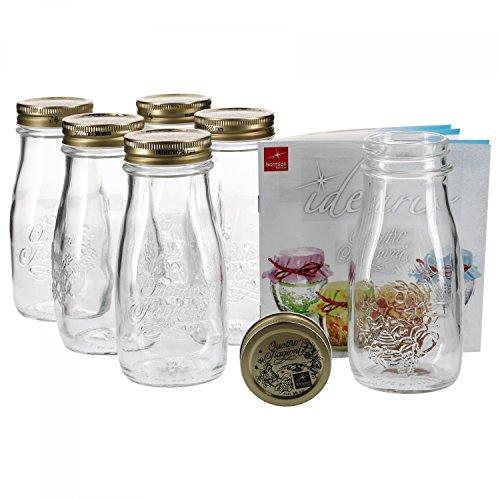 MamboCat 6er Set Quattro Stagioni Flasche 0,40l incl. Bormioli Rezeptheft - als Saft Smoothie Getränke Fläschchen, zur Dekoration oder als Einmachglas, Vorratsglas