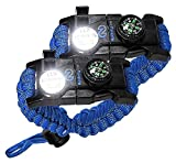 Survival Paracord Bracelet - Tactical Emergency Gear Kit with SOS LED Light, Knife, 550 Grade, Adjustable, Multitools, Fire Starter, Compass, and Whistle - Set of 2 (Sky Blue)