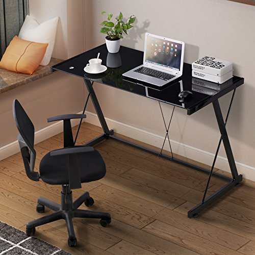 Mecor Glass Computer Desk, Z Shaped Metal Frame Corner Laptop PC Table Workstation Home Office (Black)