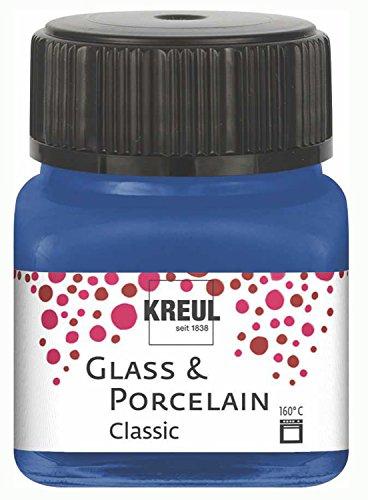 Kreul 16218 - Glass und Porcelain Classic, brillante Glas- und Porzellanmalfarbe auf Wasserbasis, schnelltrocknend, deckend, 20 ml im Glas, kobaltblau