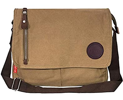 Storite Vintage Canvas Sling Cross Body Travel Office Business Satchel Messenger one Side Shoulder Bag for Men & Women-(33 cm x 6.5 cm x 27 cm)