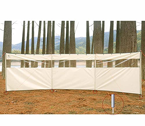 HIKEMAN Camping Windbreaks Stove Windshield – Beach Windshield Shelter,Sunshade Screen,Outdoor Caravan Privacy Shield With Top Window,Used As Tent Tarp For Garden,Picnic,BBQ,Bonfire(Upgrade-Beige)