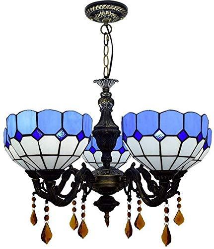 Europese minimalistische blauwe mediterrane 5 kroonluchter Tiffany stijl Creatieve glas in lood lampenkap LED plafond verlichting armatuur Retro woonkamer huis en hotel decoratieve kroonluchter