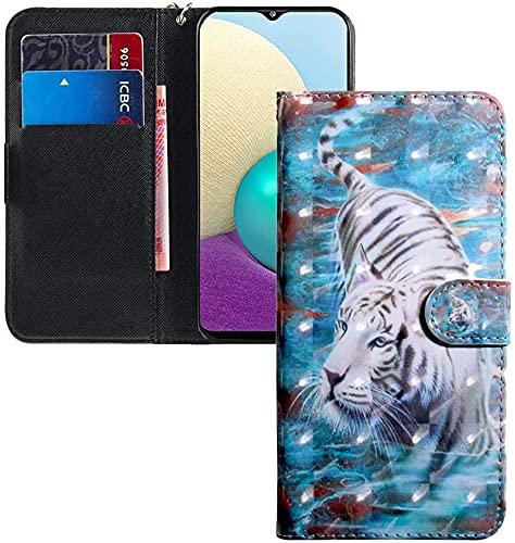 COTDINFOR LG K50 Hülle 3D-Effekt Painted cool Schutzhülle Flip Bookcase Handy Tasche Schale mit Magnet Standfunktion Etui für LG Q60 / K50 White Tiger BX.