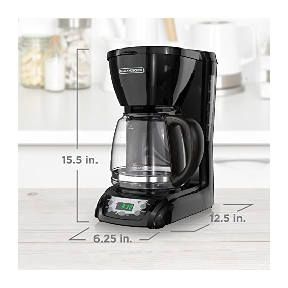 BLACK+DECKER DLX1050B 12-cup Programmable Coffee Maker with glass carafe, Black 7 QuickTouch Programming - Easily program the 24-hour auto brew feature so you can wake up to a fresh pot of coffee Digital Controls with Rubberized Feel - Large, rubberized buttons give you full control of the coffeemaker, and the easy-read screen displays the clock, brew time, and programming options Sneak-a-Cup - This feature temporarily stops the flow of coffee so you can pour your first cup before brewing ends without making a mess