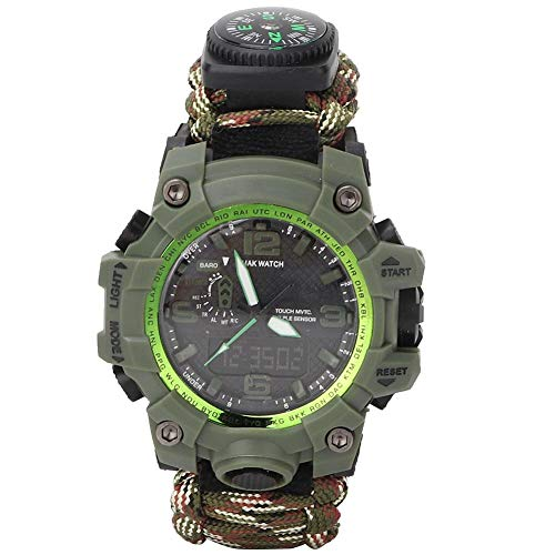 TANKE Reloj de Paracord, Deportes al Aire Libre Reloj de Supervivencia Multifuncional Viaje Senderismo Camping Rescate Pulsera de Paracord