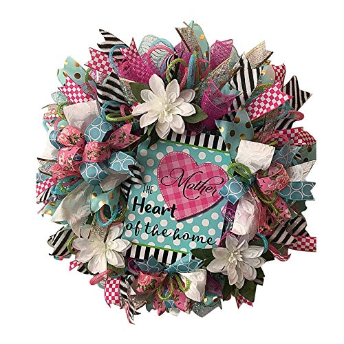 D-Rings Spring Artificial Flower Wreath for Mother's Day, Spring Garland with Wishes Card for Mom, Mothers Day Wreath for Front Door Mother's Day Decorations (C)
