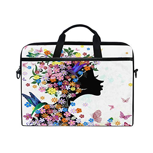 HAIIO Laptop Bag Case Colorful Bird Flower Butterfly Women Computer Protector Bag 14-14.5 inch Travel Briefcase with Shoulder Strap for Women Men Girl Boys