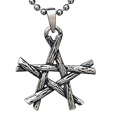 Wicca Jewelry Magic Pentagram Star Twigs Bundle Pagan Witchcraft Witch Witches Wiccan Magick Gothic Pewter Men's Pendant Necklace Lucky Charm Protection Amulet Talisman for men women Silver Ball Chain