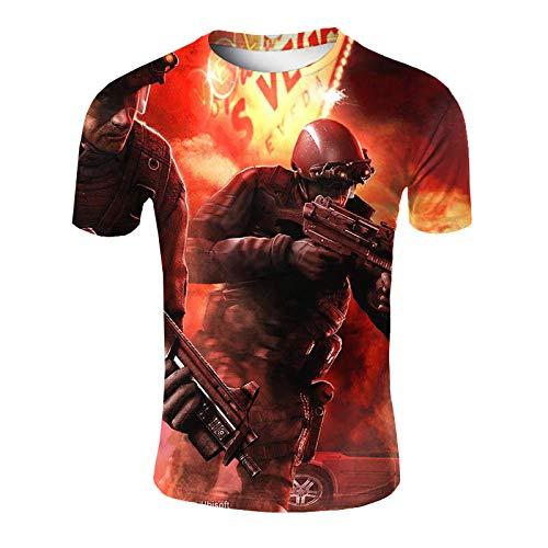 ASHGNV Assault Warrior Camiseta para Hombre con Estampado en 3D, Camisetas Informales de Verano de Secado rápido, Novedad, Camiseta de Manga Corta-XL
