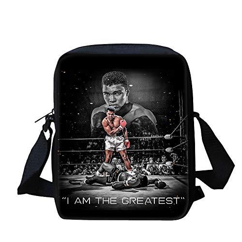Muhammad Ali Rucksäcke Leichte stilvolle umhängetasche Klassische basische Crossbody Tasche Reise umhängetasche tragbare Schule Messenger Bags mehrerer Taschen-Crossbody-Tasche