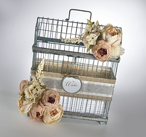 Vintage Inspired Rustic Floral Elegant Birdcage Wedding Card Holder.