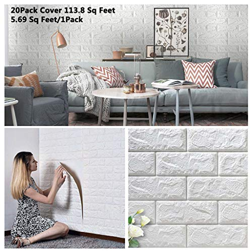 Arthome 20 Pack Faux Foam Bricks 3D Wall Panels Peel and Stick Wallpaper for Living Room Bedroom Background Wall Decoration (White, Cover 113.8 sq feet)
