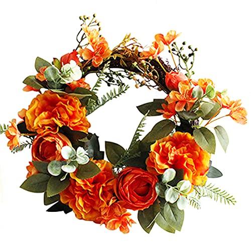 Frh Corona de flores artificiales para puerta delantera, boda, decoración del hogar