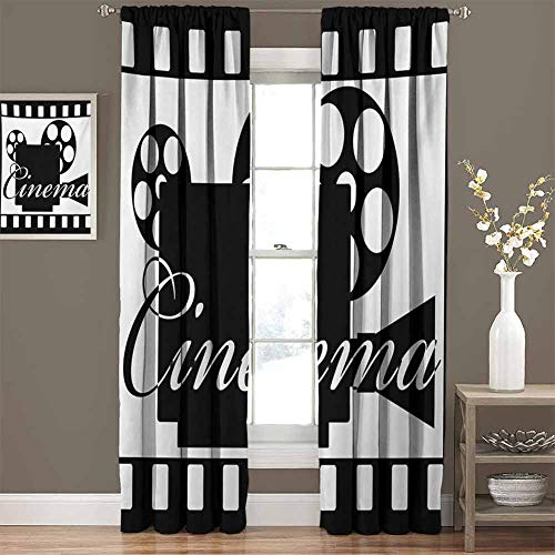 Room Darkening Thermal Insulated Curtain Monochrome Cinema Projector Inside a Strip Frame Abstract Geometric Pattern Best Home Decoration, Set of 2 Panels (60 x 96 Inch