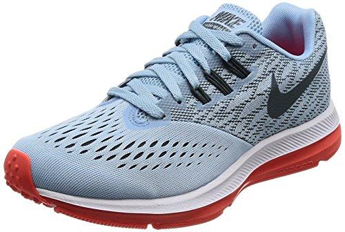 Nike Womens Air Zoom Winflo 4 Running Shoe Ice Blue/Blue Fox/Bright Crimson/White Size 7 M US