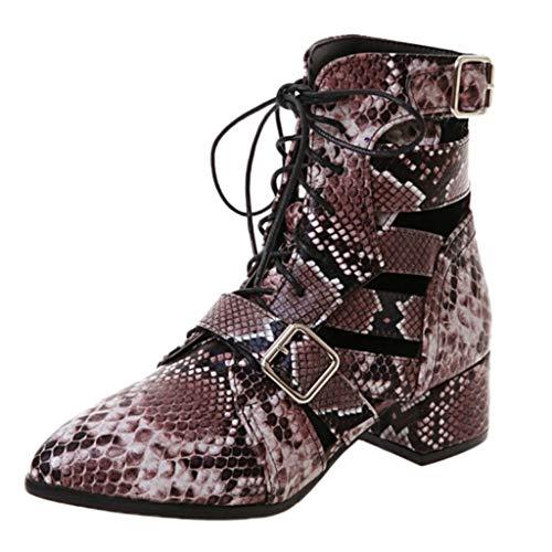 Damen Stiefeletten Kurz Stiefel Stiletto Absatz Sexy Snakeskin Stiefel PU Leder Stiefel Schnür Schlupfstiefel Party Nachtclub High Boots Mode Damenschuhe